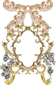 Textile Prints, Textile Design, Design Art, Print Design, Textiles, Baroque Pattern, Pattern Art, Flower Art Images, Ornament Drawing