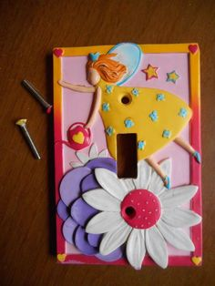 Fairy Light Switch Wallplate Wall Plate Cover Pink Daisy Borders Unlimited #BordersUnlimited