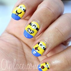 Minions Nails 2013 2014 Despicable Me 2 Great Nails, Fabulous Nails, Perfect Nails, Cute Nails, Funky Nail Art, Funky Nails, Cool Nail Art, Minions, Nail Art Designs