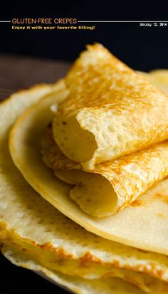 Very thin gluten-free crepes made with rice flour. These are no different from regular crepes with all purpose flour! Fill them with nutella and enjoy!