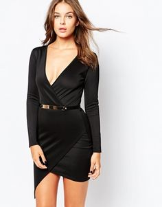 Club L Essentials Asymmetric Dress in Scuba with Gold Bar Belt
