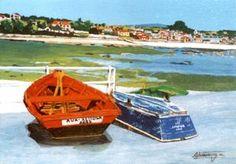 Barcas en Ares, Acrílico, 30x22 cm.Adriano Paz Martínez