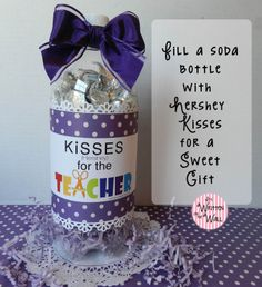 How do they fill a Empty Soda Bottle with Hershey Kisses for #TeacherAppreciation gift?