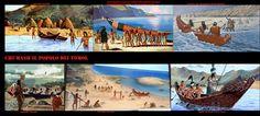 Rappresentazioni artistiche di tomol e loro utilizzo. I tomol, tii'at in Tongva, sono le imbarcazioni storicamente e attualmente utilizzate dai Chumash e dai Tongva, nella zona tra Santa Barbara, Los Angeles e le Isole del Canale, lunghi dai 2 metri e mezzo ai 9, erano particolarmente importanti perché entrambe le etnie si affidarono al mare per il loro sostentamento. Estremamente manovrabili erano sospinti da vogatori, muniti di pagaie a pala doppia, sistemati in posizione accovacciata.