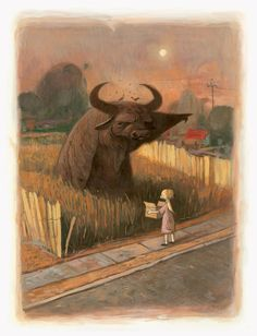 Illustration from Shaun Tan's 'Tales from outer suburbia'. Accompanying text: 'water buffaloes are like that; they hate talking.'