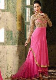 Party Wear Georgette Pink Antique Work Anarkali Suit
