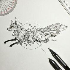 #geometric #tattoo #fox