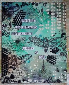 Visible Image stamps - Mixed Media canvas - Moth stamp - Glimmer of Light quote - Teresa Morgan