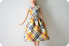Simple Barbie dress tutorial - I LOVED getting Barbie clothes from Grandma. As a matter of fact, I would STILL love to get Barbie clothes from Grandma...