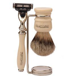 TRUEFITT & HILL Chrome Brush Stand Contemporary-style chrome. Badger brush.