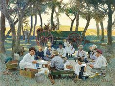 Prairie Grove Picnic | From a unique collection of figurative paintings at https://www.1stdibs.com/art/paintings/figurative-paintings/