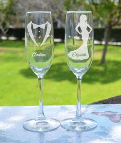 Wedding Gift PAIR Mr. and Mrs. Champagne by LetsTieTheKnot