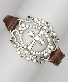 I Love Accessories Silver & Brown Cross Medallion Bracelet | Something special every day