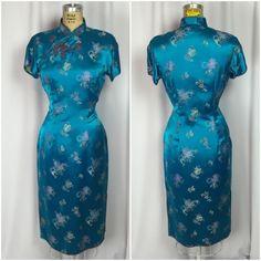 "Vintage Rockabilly Pin Up ""Girl in Blue"" Asian Cheongsam Wiggle Dress | eBay"