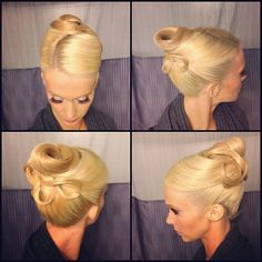 High twist bun and swirls with side part, no stones (yet). Good hairstyle for standard. Visit http://ballroomguide.com/comp/hair_make_up.html for more hair and makeup info