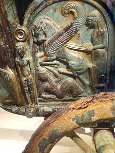 Etruscan bronze chariot inlaid with ivory, 6th century BCE, found near Monteleone di Spoleto