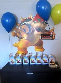 Goodie Bag Game Over Table with Bowser: Super Mario Birthday Party