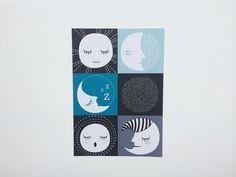 Mini Zoo Måne og godnat kort - Størrelse A5 - Tinga Tango Designbutik - #minizoo#plakat#grafisk#børn
