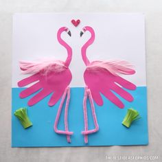Flamingo Handprint - The Best Ideas for Kids - Kids Crafts - Handprint Flamingo 🦩 Craft – such a fun summer kids craft! Preschool Arts And Crafts, Daycare Crafts, Toddler Crafts, Craft Activities, Kids Crafts, Kids Diy, Decor Crafts, Crafts For Children, Bunny Crafts
