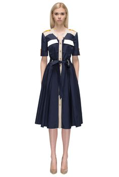 Style Notes Every day wear dress. Very elegant and convenient, the dress is made of dark blue cotton. The shirt - skirt slim waisted cut allows free movement. There is a wide belt to emphasize the wai