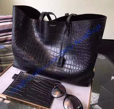 Saint Laurent Large Shopping Tote Bag in Black Crocodile Embossed Leather