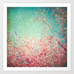 Blue Autumn, Pink leafs on blue, turquoise, green, aqua sky Art Print by AC Photography | Society6