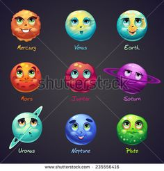 """Set of cartoon, funny planets of the solar system. These objects can be used for computer games: the game """"3 in a row""""."""