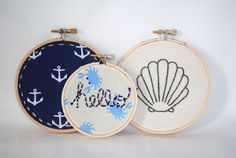 Nautical Embroidery Hoop Set. Hand Made Embroidered Wall Art. Hello Sea Shell Anchor