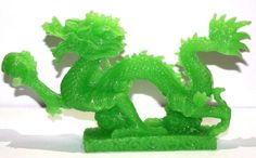 LARGE JADE COLOR Chinese Feng Shui Dragon Figurine Statue for Luck & Success 8.5 inch LONG