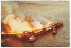Southend Pier Fire, 1976 Repro PPC, Unused, From Southend Pier Museum Essex England, Leigh On Sea, Uk Holidays, Childhood Memories, Places Ive Been, Abandoned, British, Museum, Fire