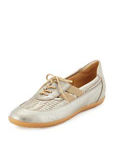 Sesto Meucci Haldor Woven Leather Sneaker, Pewter (Silver), Women's, Size: 39B/9B