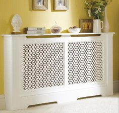 White Radiator Cover Doubles as a Pretty Side Table Decor, House Interior, Home Decor Furniture, Interior Design Living Room, Interior, Home Diy, Home Decor, Furniture Decor, Radiator Cover