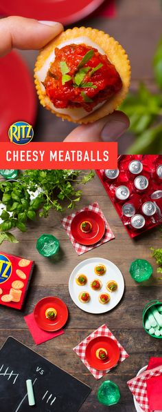 RITZ Cheesy Meatballs are sure to be the hit of the block party! This crowd-pleasing recipe features everyone's favorite pizza toppings. Instructions: Place mozzarella cheese slices on crackers. Top cheese slices w/ spaghetti sauce. Cut meatballs in half & place the cut side down on crackers. Top w/ spaghetti sauce & fresh parsley. Try it also w/ pesto & provolone.