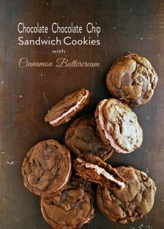 Chocolate chip sandwich cookies with cinnamon buttercream