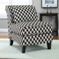@Overstock.com - Black and White Houndstooth Grande Slipper Chair - Enhance your home decor with this stylish black and white houndstooth slipper chair. A fabric upholstery is filled with foam and features a durable spring seat construction for a comfortable feel.   http://www.overstock.com/Home-Garden/Black-and-White-Houndstooth-Grande-Slipper-Chair/6525361/product.html?CID=214117 $165.99