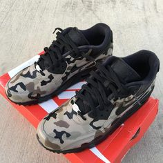 Items similar to Camouflage Nike Air Max 90 - Custom Painted Sneakers 'Desert Camo on Etsy Jordan Swag, Air Jordan, Painted Sneakers, Painted Shoes, Nike Shoes, Sneakers Nike, Camo Shoes, Desert Camo, Camo Fashion