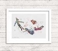 Peter Pan Disney Watercolor Art Poster Print, Baby Nursery Art, Kids Decor, Minimalist Home Decor, Not Framed, Buy 2 Get 1 Free! [No. 137] by VIVIDEDITIONS on Etsy https://www.etsy.com/listing/219875283/peter-pan-disney-watercolor-art-poster