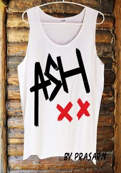 Ashton Irwin 5SOS One Direction Fashion Custom Handmade Tank Top Screen Print Funny White Clothing  Womens Tee T Shirts Tshirts Shirt S M L
