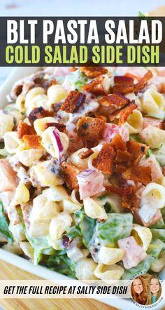 Mayo Pasta Salad Recipes, Blt Pasta Salads, Pasta Salad Italian, Blt Macaroni Salad, Simple Pasta Salad, Bacon Ranch Pasta Salad, Bacon Pasta, Shrimp Pasta, Potluck Salad