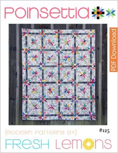 The Poinsettia quilt pattern is a scrappy star based quilt pattern made modern through the use of color and black and white prints.  <b>This quilt pattern assumes the quilter has knowledge of the paper piecing process.</b>  For a tutorial on paper piecing, see my blog: http://www.freshlemonsquilts.com/