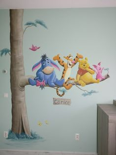 Winnie the Pooh muurschildering voor in de kinderkamer. Gemaakt door BIM Muurschildering. wall painting mural decal nursery