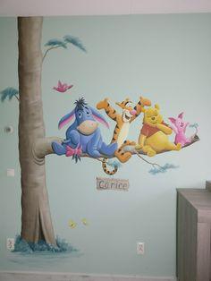 Winnie the Pooh muurschildering voor in de kinderkamer. Gemaakt door BIM Muurschildering. wall painting mural decal nursery