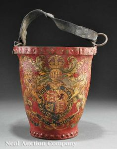 "ON-LINE AUCTION - NO DATE NO SOURCE see their document English ""Order of the Garter"" Fire Bucket  red ground decorated with a royal armorial crest flanked by a crowned lion and a unicorn and reading ""Honi Soit Mal Y Pense"", height 11 in., width 10 1/2 in,  Very Beautiful- leather fire buckets - mostly likely decoratve?"