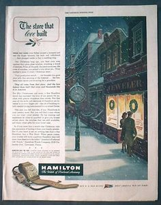 Vintage Christmas Ad ~ Hamilton Watches
