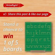 Follow us on Facebook & stand a chance to win 1 of 5 Write Right boards.  https://www.facebook.com/WriteRightEducational