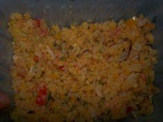 Salade de couac.. taboulé guyanais Main Dishes, Grains, Rice, Vegetables, Bowl, Creole Cuisine, Chopped Salads, Creole Recipes, Cooking Recipes