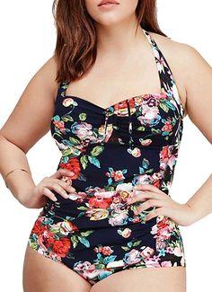 QZUnique Women's Retro Vintage One Piece Swimwear Floral Monokinis Plus Size, Navy, US M = Tag Size 2XL at Amazon Women's Clothing store