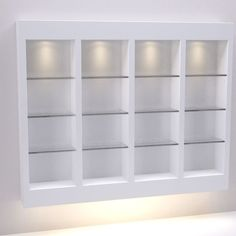 Four (4) Section Retail Wall Display with Glass Shelves - Salon  Spa