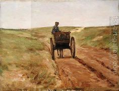 Max Liebermann Paintings | Max Liebermann:Cart in Katwijk, 1889