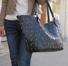 Riveted Skull Leather Handbag | Pyrefly